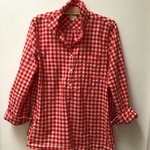 J Crew Red Gingham cotton tunic top